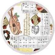 Christmas Collage Round Beach Towel