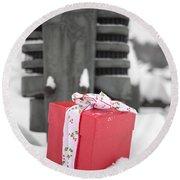 Christmas Down On The Farm Round Beach Towel