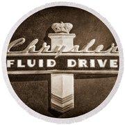 Chrysler Fluid Drive Emblem Round Beach Towel