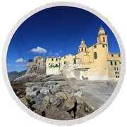 Round Beach Towel featuring the photograph church in Camogli by Antonio Scarpi