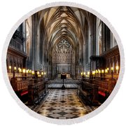 Church Interior Round Beach Towel
