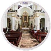 Church Interior In Puerto Vallarta Round Beach Towel