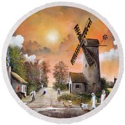 Round Beach Towel featuring the painting Church View by Ken Wood