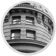 Round Beach Towel featuring the photograph Circular Building Details San Francisco Bw by Connie Fox