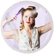Classic 50s Pinup Girl Combing Hair Style Round Beach Towel