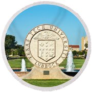 Round Beach Towel featuring the photograph Classical Image Of The Texas Tech University Seal  by Mae Wertz