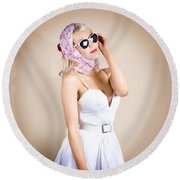 Classical Pinup Girl Posing In Retro Fashion Style Round Beach Towel