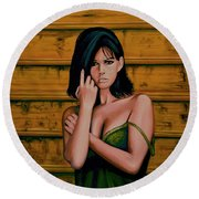 Claudia Cardinale Painting Round Beach Towel by Paul Meijering