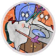 Round Beach Towel featuring the painting Clean Tooth by Anthony Falbo