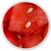 Close Detailed Macro On Chopped Watermelon Round Beach Towel