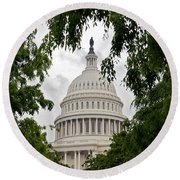 Clouds Over The Capitol Round Beach Towel