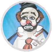 Round Beach Towel featuring the painting Clown by Nora Shepley