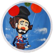 Round Beach Towel featuring the painting Clown Up Up And Away by Nora Shepley