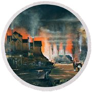 Round Beach Towel featuring the painting Coalbrookdale by Ken Wood