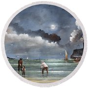 Round Beach Towel featuring the painting Cockle Picking At Whitby by Ken Wood