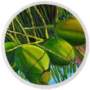 Coconuts At Sunset Round Beach Towel