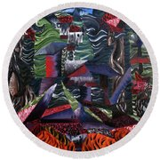 Round Beach Towel featuring the painting Cocytemensia by Ryan Demaree
