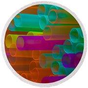 Colored Tubes Round Beach Towel by Edgar Laureano