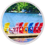 Colorful Chairs Round Beach Towel
