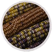 Colorful Indian Corn Round Beach Towel
