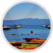 Colorful Kayaks Lake Tahoe Round Beach Towel