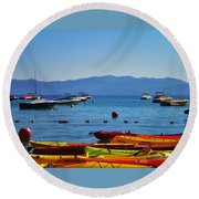 Colorful Kayaks Lake Tahoe Round Beach Towel