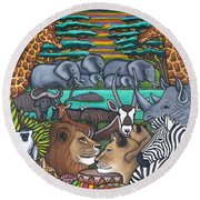 Colours Of Africa Round Beach Towel