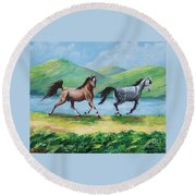Colt And Mare Round Beach Towel