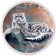 Copper Snow Leopard Round Beach Towel