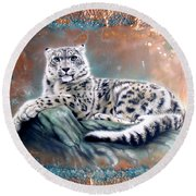 Copper Snow Leopard Round Beach Towel