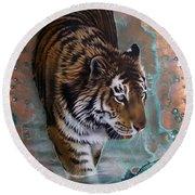 Copper Tiger I  Round Beach Towel