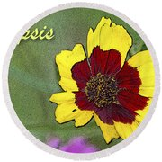 Coreopsis Flower And Buds Round Beach Towel