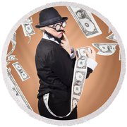 Corrupt Business Man Money Laundering Us Dollars Round Beach Towel