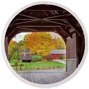 Covered Bridge In Autumn Round Beach Towel