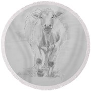 Cow Drawing Round Beach Towel