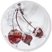 Crab Apples On Icy Branch Round Beach Towel