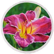 Crimson Day Lily Round Beach Towel