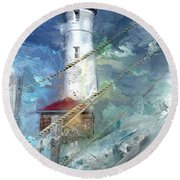 Crisp Point Lighthouse Michigan Round Beach Towel