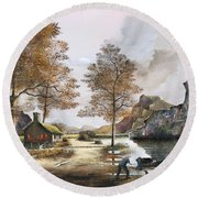 Crofters Cottages Round Beach Towel