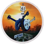 Crossroads Sunset  Blues Highway 61 Round Beach Towel