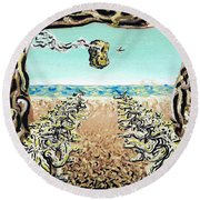Round Beach Towel featuring the painting Cult Erie by Ryan Demaree