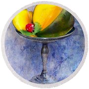 Round Beach Towel featuring the photograph Cut Mango On Sterling Silver Dish by Gunter Nezhoda