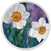 Round Beach Towel featuring the painting Daffodil Dream by Anna Ruzsan