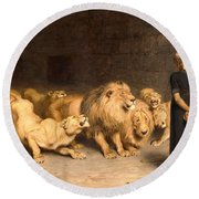 Daniel In The Lions' Den Round Beach Towel by Briton Riviere
