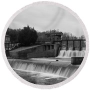 Daniel Pratt Cotton Mill Dam Prattville Alabama Round Beach Towel by Charles Beeler