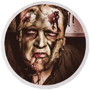 Dark Scary Halloween Zombie With Bloody Mouth Round Beach Towel