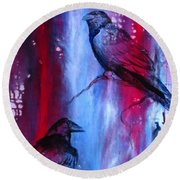 Dark Wings Round Beach Towel by Laurianna Taylor