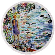 Daughter Of The River Round Beach Towel by Alfred Motzer