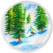 David Skiing The Trees  Round Beach Towel