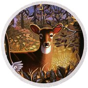 Round Beach Towel featuring the painting Deer In The Forest by Robin Moline